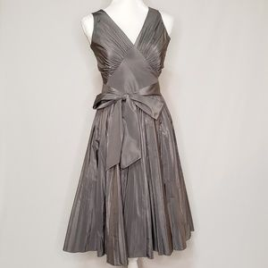 Silver Gray Metallic Silk Banana Republic Dress